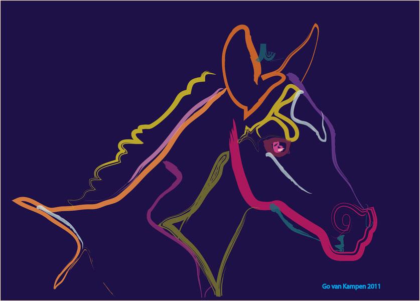 Digitaal schilderij van paard Veulen Colour Filly