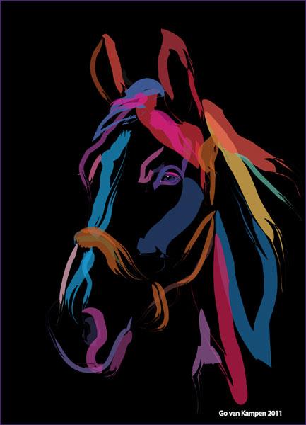Digitaal schilderij van paard Paard Colour me Beautiful