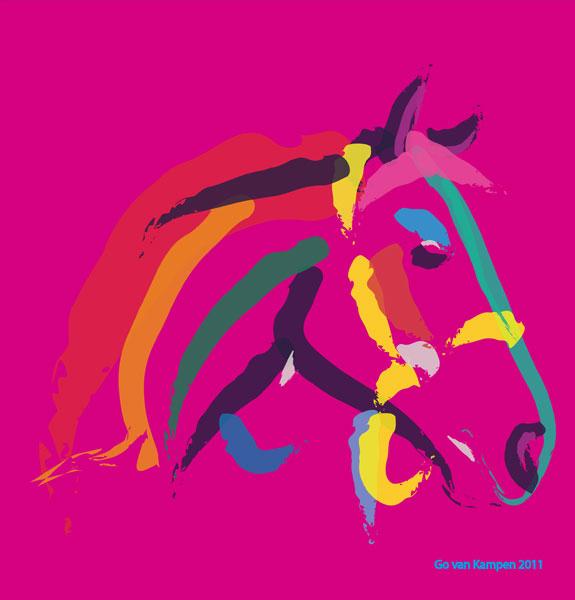 Digitaal schilderij van paard Paard Colour me Strong