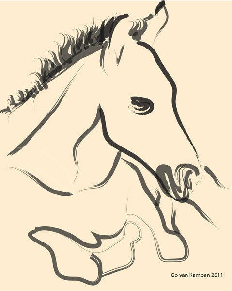 Digitaal schilderij van paard Veulen Puur