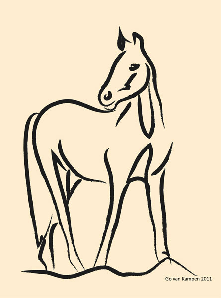 Digitaal schilderij van paard Paard Grace