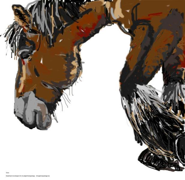 Digitaal schilderij van paard Paard Guus