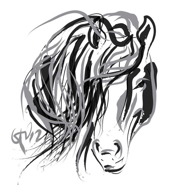Digitaal schilderij van paard Paard Hair and Horse