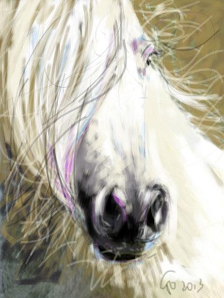 Digitaal schilderij van paard Paard Horse Blowing in the Wind