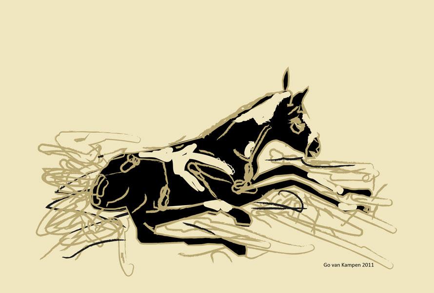 Digitaal schilderij van paard Veulen