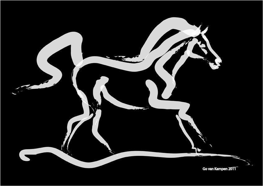 Digitaal schilderij van paard Paard Horse Runner