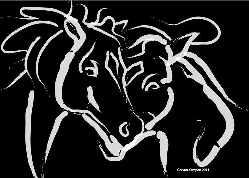 Digitaal schilderij van paard Paarden Together 5