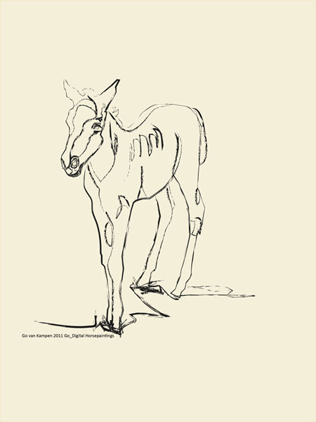 Digitaal schilderij van paard Paard Josje