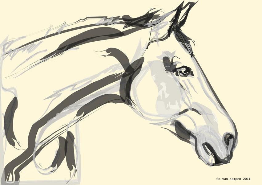 Digitaal schilderij van paard Paard Lovely