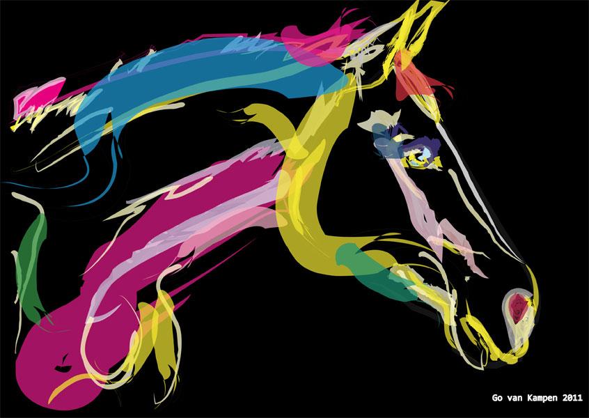 Digitaal schilderij van paard Paard Lovely Colours