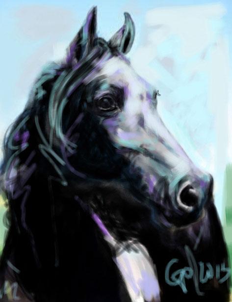 Digitaal schilderij van paard Paard Painted Black