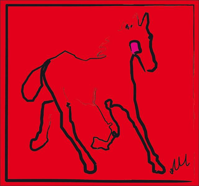 Digitaal schilderij van paard Paard Red Filly