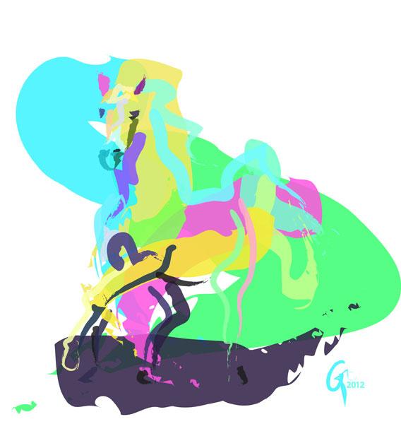 Digitaal schilderij van paard Paard Rennende Arabier