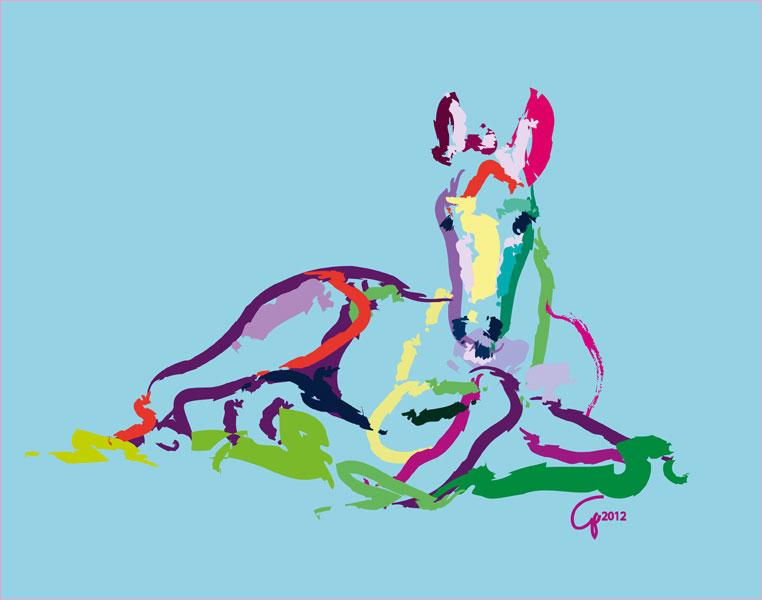 Digitaal schilderij van paard Veulen Sweetie