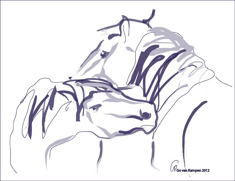 Digitaal schilderij van paard Paarden Together 10