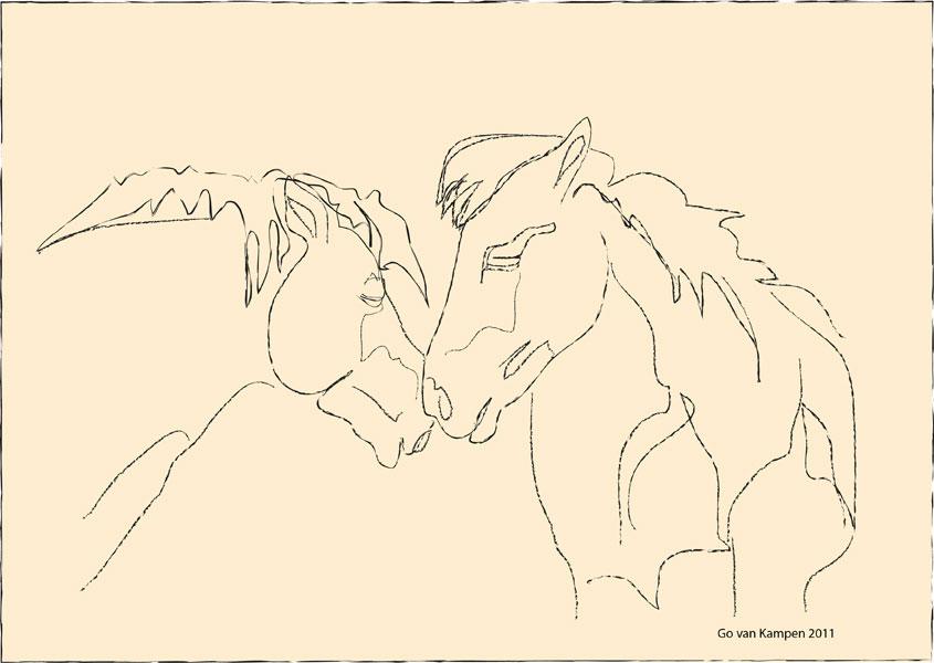 Digitaal schilderij van paard Paarden Together 3