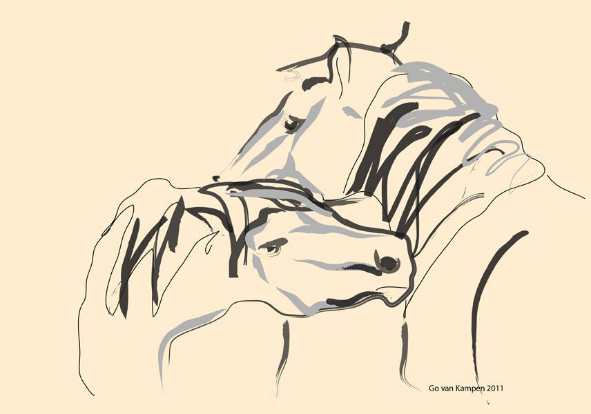 Digitaal schilderij van paard Paarden Together 4