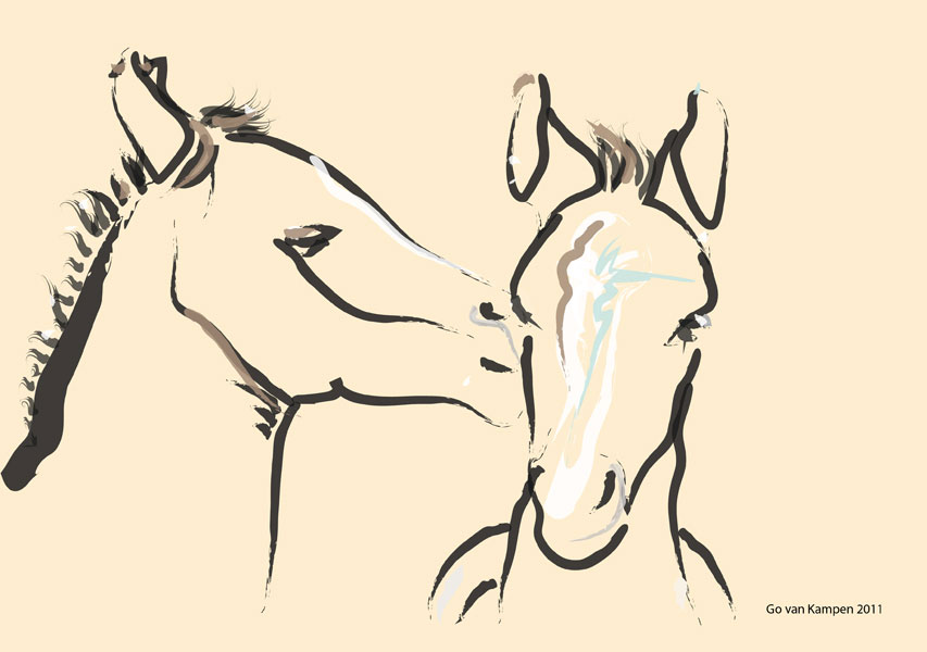 Digitaal schilderij van paard Paarden Together 6