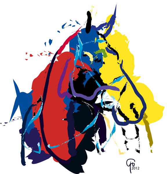Digitaal schilderij van paard Paard Zam