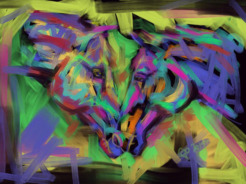 Digitaal schilderij van paard Paarden Together in Colour