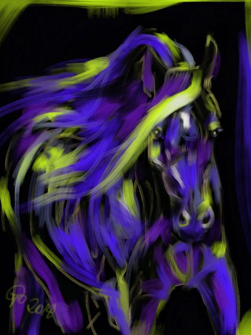 Digitaal schilderij van paard War Horse