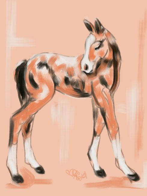 Digitaal schilderij van paard Veulen Peach