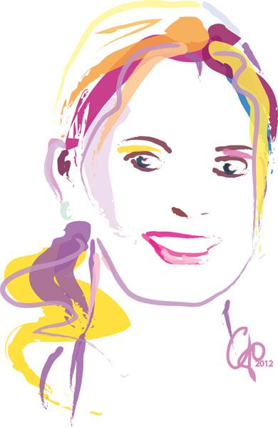 Digitaal schilderij van Zelfportret Go met Staart