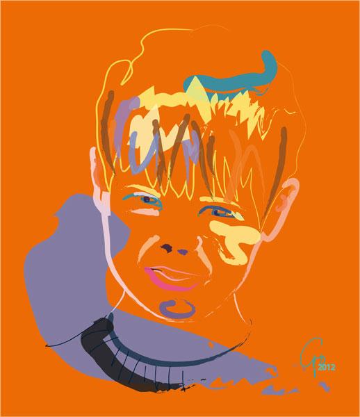 Digitaal schilderij van Kind in Kleur
