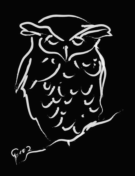 Digitaal schilderij van Uil Sleepy Owl