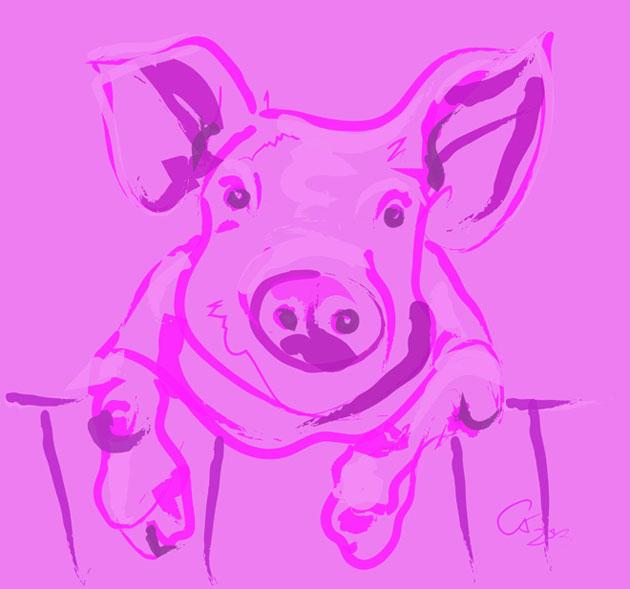 Digitaal schilderij van Varken Pink Piggy