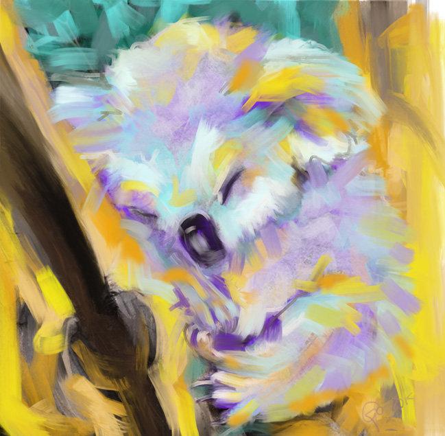 Digitaal schilderij van Koala