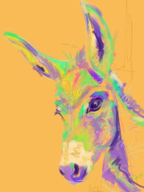 Digitaal schilderij van Ezel in Kleur