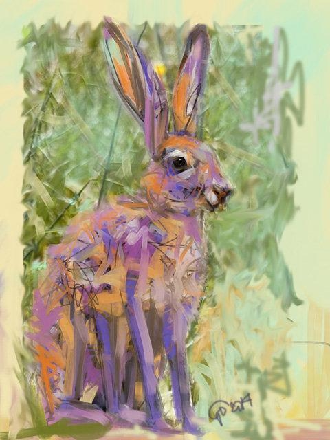 Digitaal schilderij van Haas
