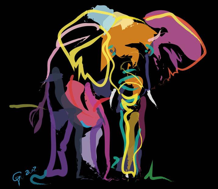 Digitaal schilderij van Olifant in Kleur