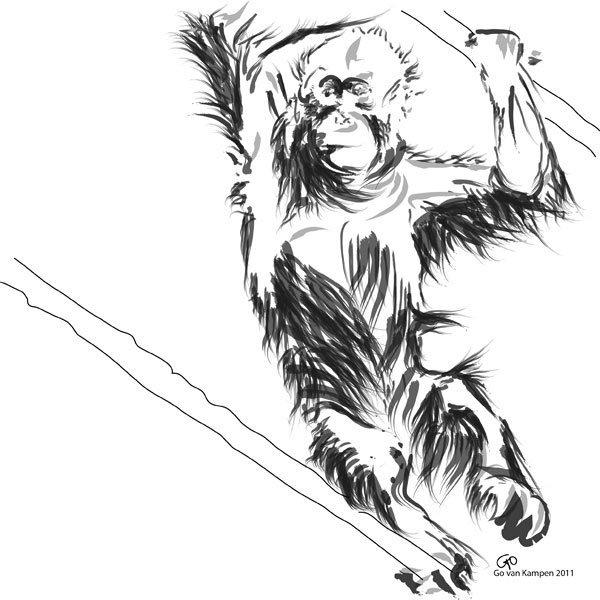 Digitaal schilderij van Orang Oetan Baby 3