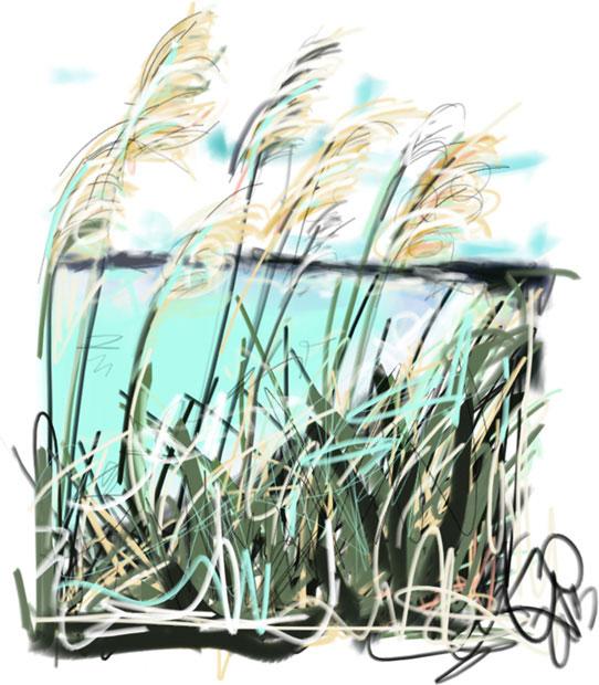 Digitaal schilderij van zee Zeezicht