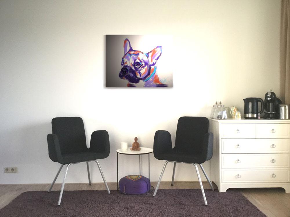 Digitaal schilderij van een kleurrijke hond hangend in een trendy wachtkamer.