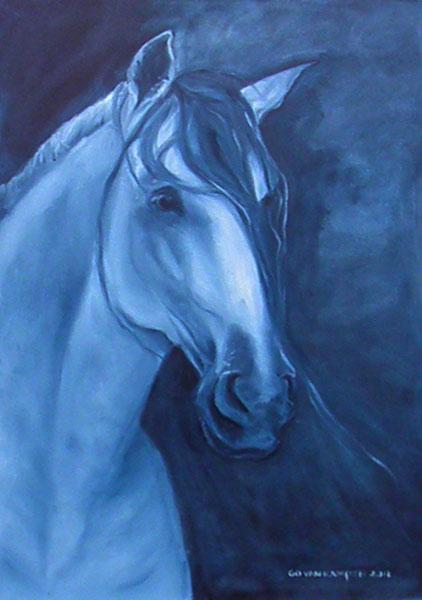 Olieverf schilderij van paard Paard Andalusian Indigo