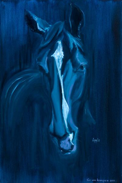 Olieverf schilderij van Paard Apple Indigo