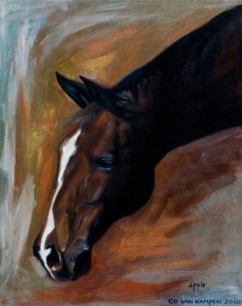 Olieverf schilderij van paard Paard Apple Copper