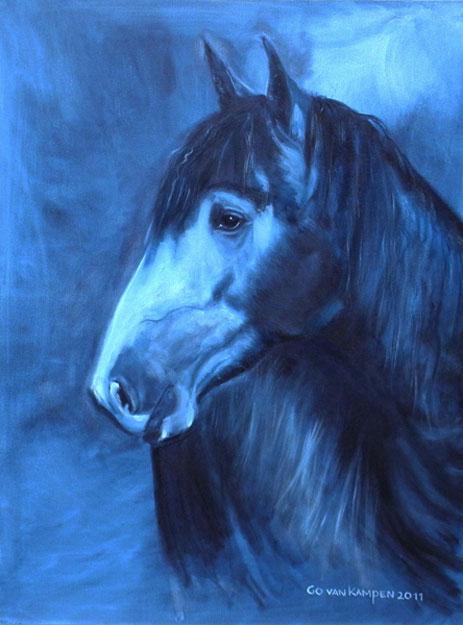 Digitaal schilderij van paard Paard Carol in Indigo