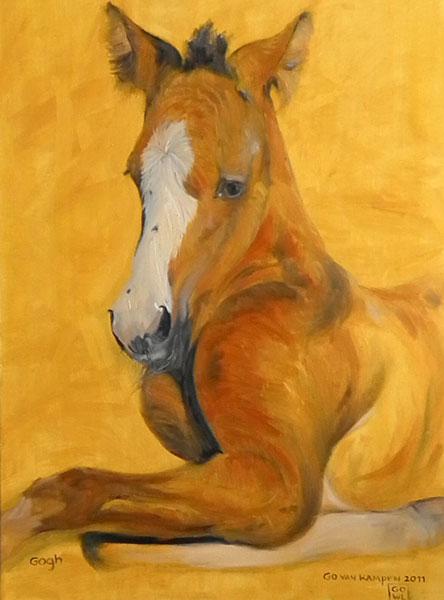 Olieverf schilderij van paard Paard Gogh