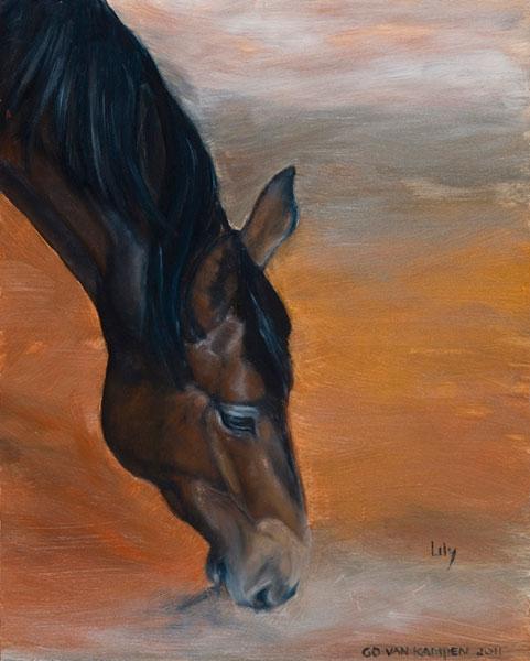 Olieverf schilderij van paard Paard Lily