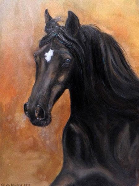 Olieverf schilderij van paard Paard Lucky Star