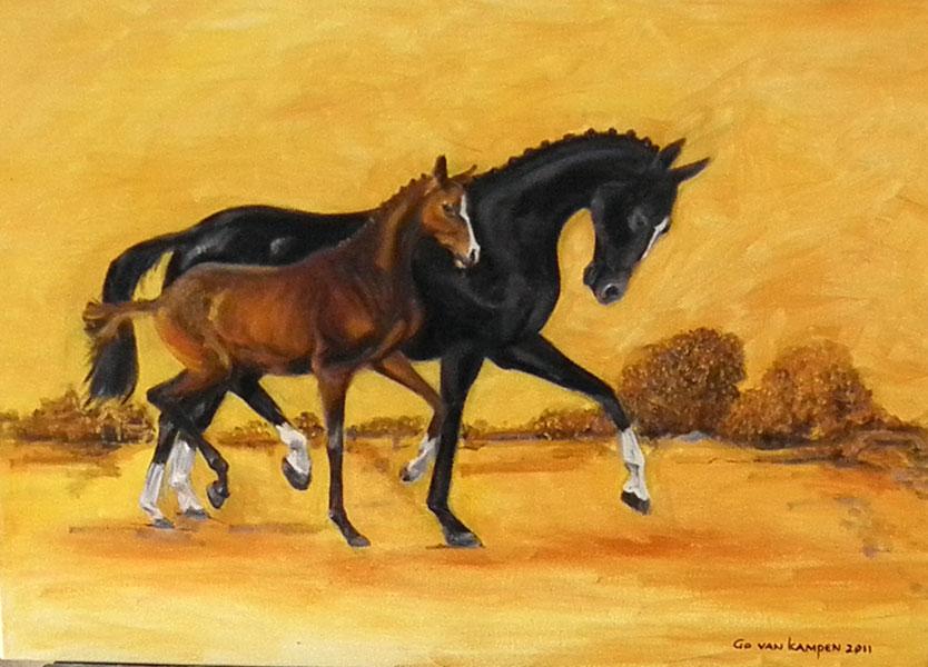 Olieverf schilderij van paard Paarden Together 2