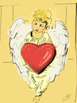 Digital angel painting Angel with red heart