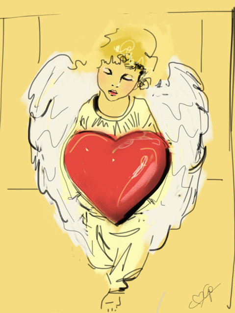 Digital painting of Angel with Red Heart