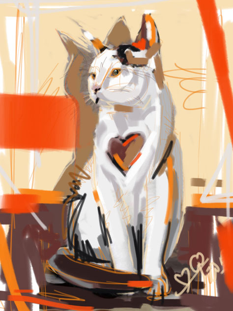 Digital painting cat big heart