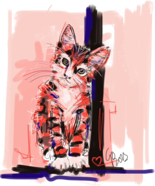 Digital painting Cat I see you
