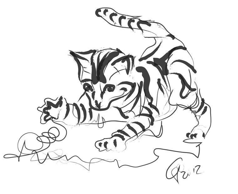 Digital painting cat cute kitty